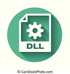 White DLL file document icon. Download dll button icon isolated with long shadow. DLL file symbol. Green circle button. Vector Illustration