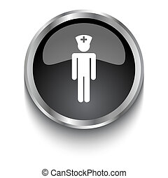 White Doctor symbol on black glossy web button