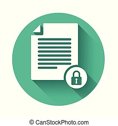 White Document and lock icon isolated with long shadow. File format and padlock. Security, safety, protection concept. Green circle button. Vector Illustration