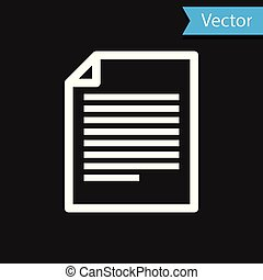 White Document icon isolated on black background. File icon. Checklist icon. Business concept. Vector Illustration
