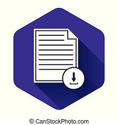 White Document with download sign icon isolated with long shadow. File document symbol. Purple hexagon button. Vector Illustration