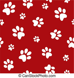 dog footprints - white dog footprints on red background...