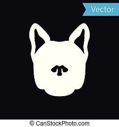 White Dog icon isolated on black background. Vector Illustration