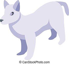 White dog icon, isometric style