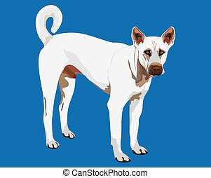 white dog on blue background vector design