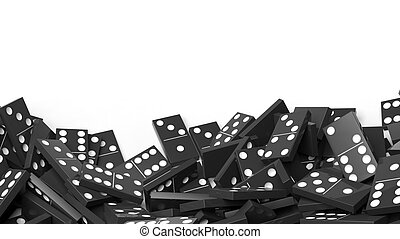 White domino tiles randomly piled, isolated on white with copy-space