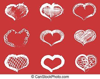 white doodle heart icons set
