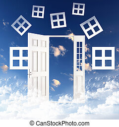 White door against blue sky background - Picture of a white...