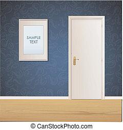White door and framework on vintage