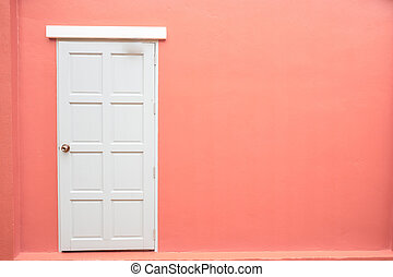 White door classic vintage on the color pink wall background