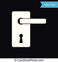 White Door handle icon isolated on black background. Door lock sign. Vector Illustration