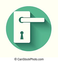 White Door handle icon isolated with long shadow. Door lock sign. Green circle button. Vector Illustration
