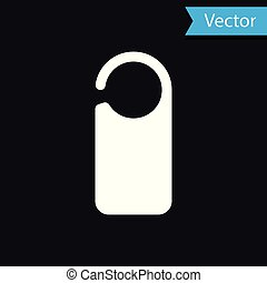 White Door hanger tags for room in hotel or resort icon isolated on black background. Please do not disturb sign. Vector Illustration