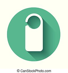 White Door hanger tags for room in hotel or resort icon isolated with long shadow. Please do not disturb sign. Green circle button. Vector Illustration