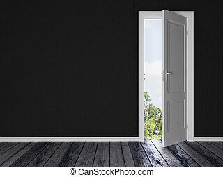 white  door in the black room