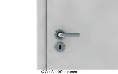 white door on white background 3D render