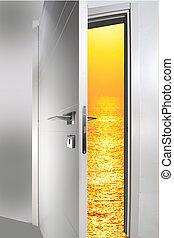 door open to the sunset