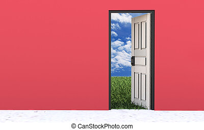 White door opened in grass to a nice sky background