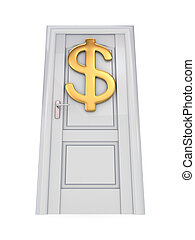 White door with a golden dollar sign.