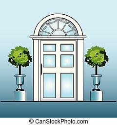 White door with topiary