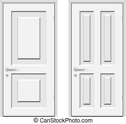 White doors isolated on white background vector illustration.