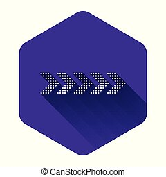 White Dots arrow icon isolated with long shadow. Purple hexagon button. Vector Illustration