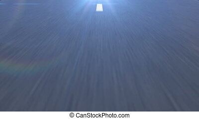 White dotted line on the Asphalt road in perspective view.
