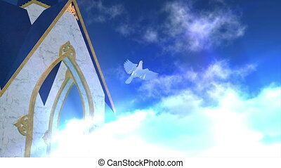 white dove and church
