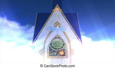 white dove and church
