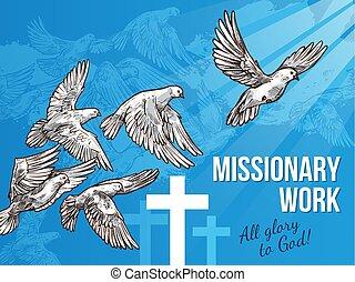 White dove banner for World Peace Day design - Dove of peace...
