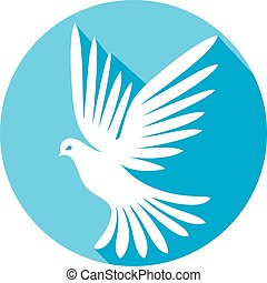 white dove flat icon