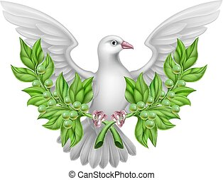 White Dove Peace with Olive Branch