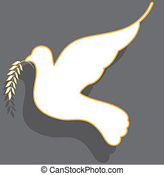 white dove - White dove with straightened wing with branch...