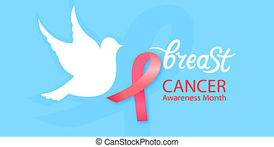White dove with a pink ribbon. National Cancer Awareness Month concept