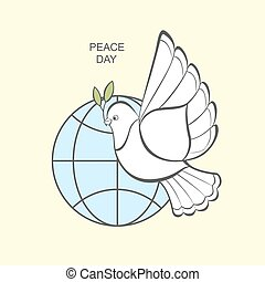 White dove with an olive branch and globe.