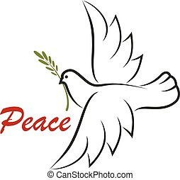 White dove with green twig for as a peace symbol or...