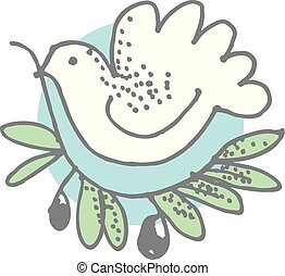white dove with olive branch drawn in simple style. vector illustration of peace pigeon in circle