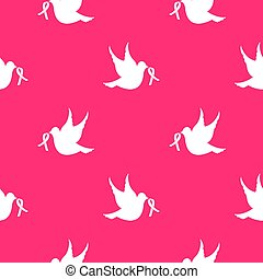 White dove with ribbon seamless pattern. National Cancer Awareness Month.