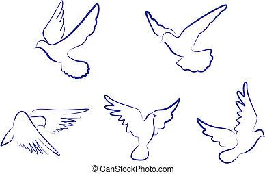 White doves - Set of white doves as a concept of love or...