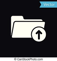 White Download arrow with folder icon isolated on black background. Vector Illustration