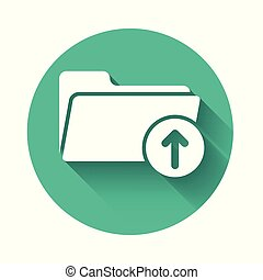 White Download arrow with folder icon isolated with long shadow. Green circle button. Vector Illustration