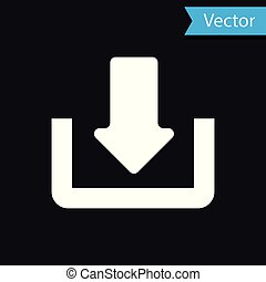 White Download icon isolated on black background. Upload button. Load symbol. Arrow point to down. Vector Illustration