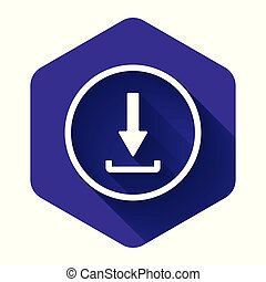 White Download icon isolated with long shadow. Upload button. Load symbol. Arrow point to down. Purple hexagon button. Vector Illustration