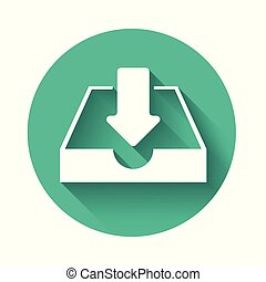 White Download inbox icon isolated with long shadow. Green circle button. Vector Illustration