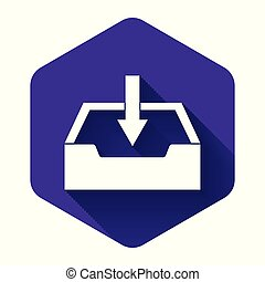 White Download inbox icon isolated with long shadow. Purple hexagon button. Vector Illustration