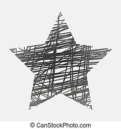 White drawn vector star on black background