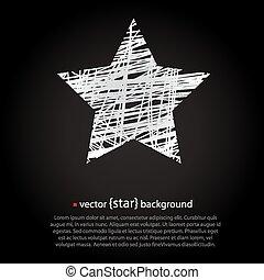 White drawn vector star on black background