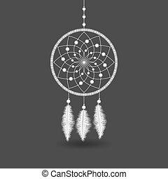 White Dreamcatcher on gray background