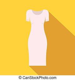 White dress icon, flat style