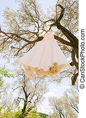 White dress of the bride on a hanger high on the branches of a tree in the daytime against the blue sky.